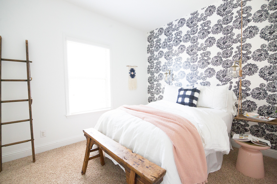 10-Beautiful-Ideas-for-How-to-Use-Wallpaper-in-Modern-Home-Design-black-and-white-floral-wallpaper-bedside-swing-night-stand-wood-ladder-wood-bench-end-of-bed-white-bedding-buffalo-check-pillow-2
